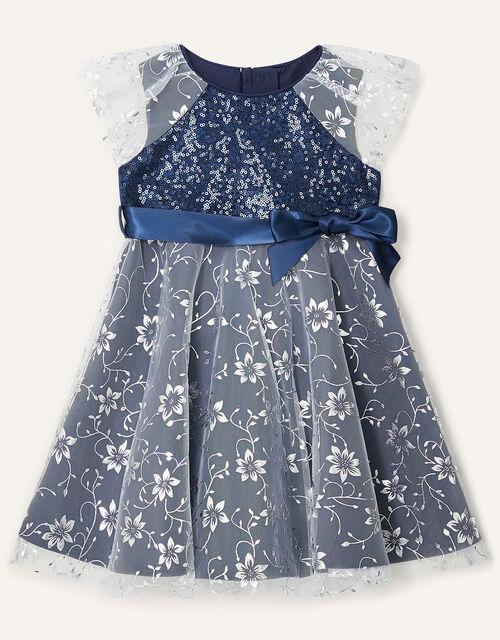 Baby Sanchia Sequin Floral Dress, Blue (NAVY), large