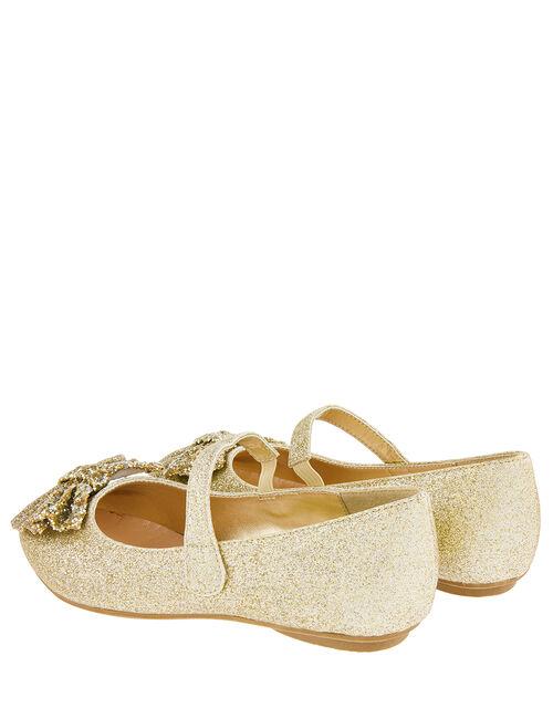 Glitter Bow Ballerina Flats, Gold (GOLD), large