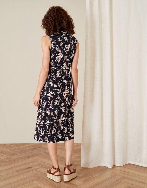 Lydia Printed Jersey Wrap Dress, Blue (NAVY), large