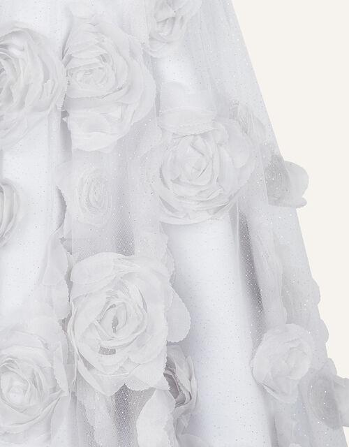 Sequin 3D Flower Dress, Silver (SILVER), large