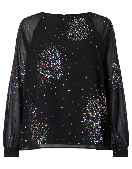 Lucienne Sequin Blouse in Recycled Fabric, Black (BLACK), large