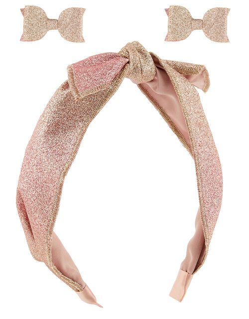 Ombre Glitter Headband and Bow Clip Set, , large