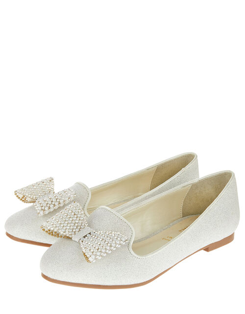 Sylvia Pearl Dazzle Bow Slippers, Ivory (IVORY), large