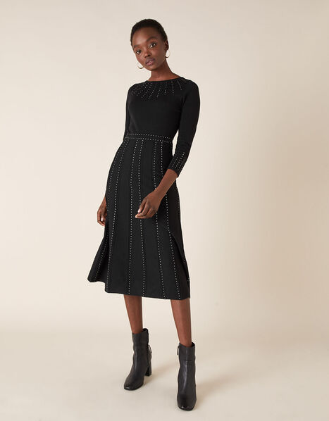 Heat-Seal Gem Knit Midi Dress Black, Black (BLACK), large