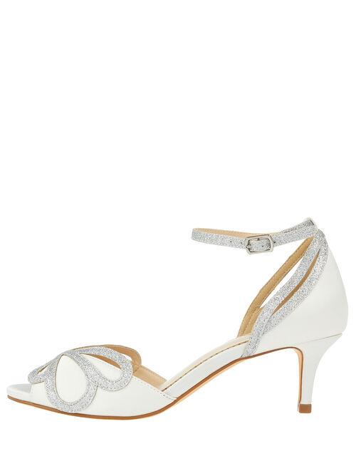 Glitter and Satin Bridal Kitten Sandals, Ivory (IVORY), large