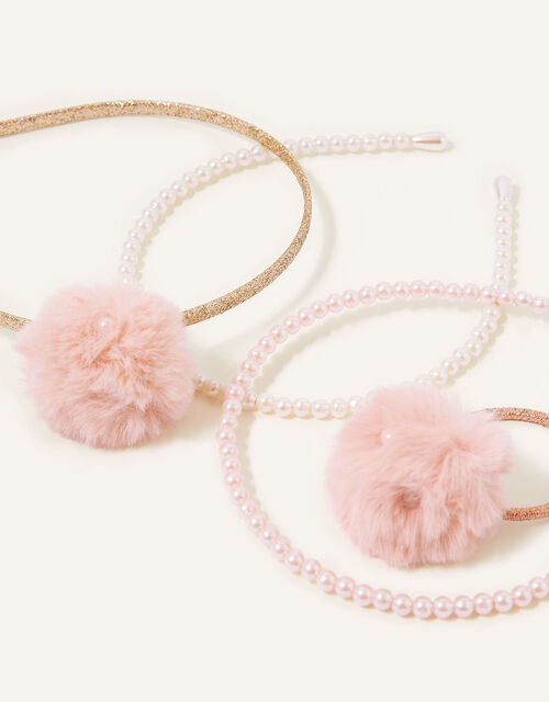 Pearly Pom-Pom Hair Accessory Set, , large
