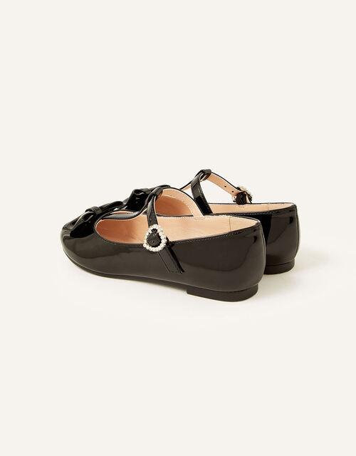 Patent T-Bar Bow Ballerina Flats , Black (BLACK), large