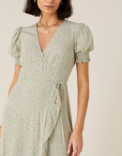 Ditsy Daisy Print Wrap Dress, Green (GREEN), large