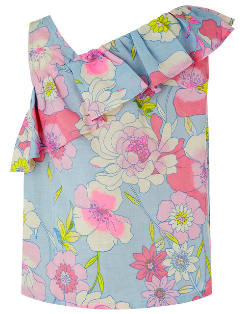 Octavia Floral Top in Linen and Organic Cotton, Blue (BLUE), large