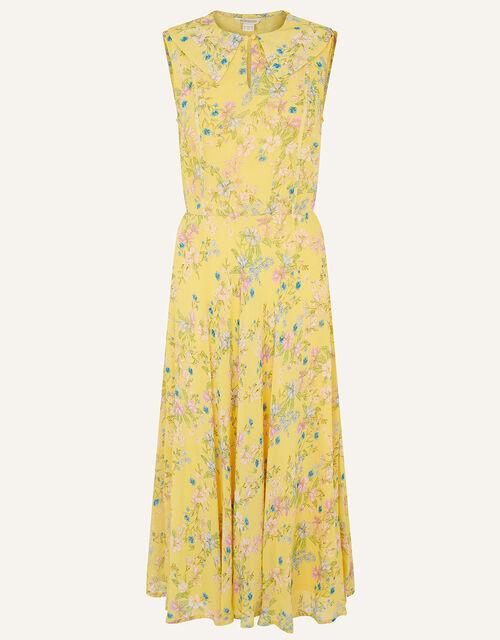 Sylvie Printed Midi Dress, Yellow (YELLOW), large
