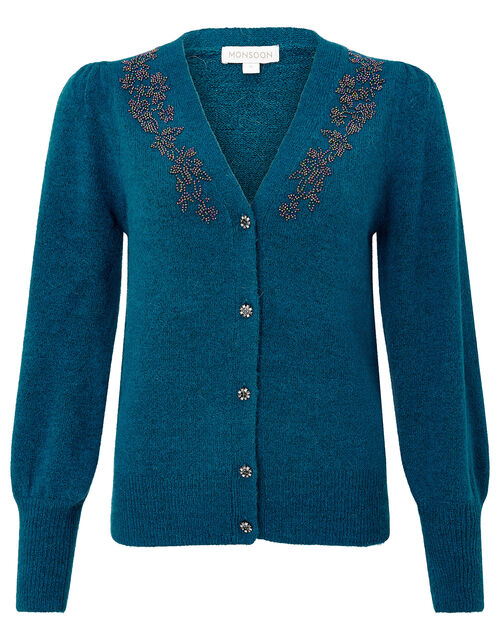 Beaded Knit Cardigan with Recycled Fabric, Teal (TEAL), large