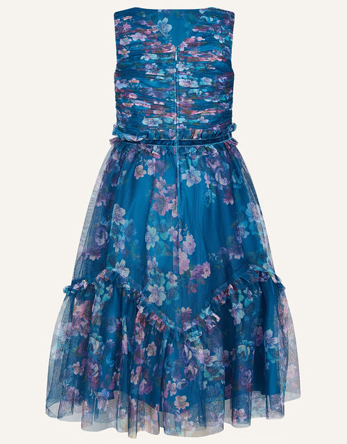 Floral Ruffle Tulle Maxi Dress, Teal (TEAL), large