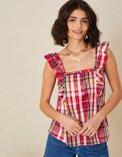 Nila Check Cami Top in Organic Cotton, Red (RED), large