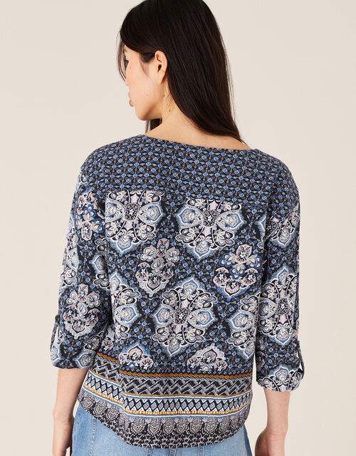Rowan Heritage Print Top in Organic Cotton, Blue (NAVY), large