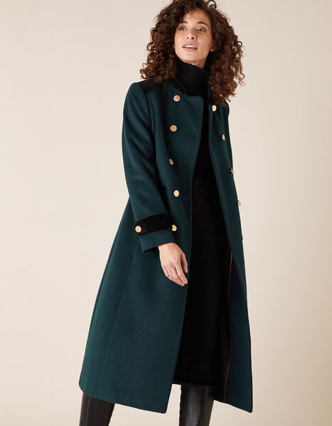 Maddie Military Coat in Wool Blend Green, Green (GREEN), large