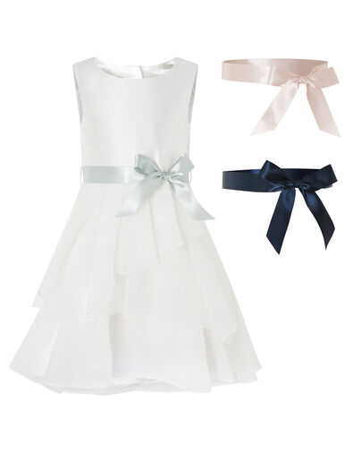 Tiered Organza Dress with Changeable Ribbons Ivory, Ivory (IVORY), large