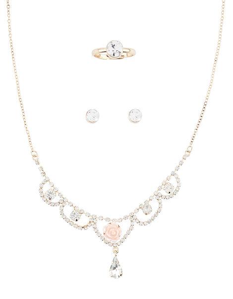 Rose Shine Diamante Jewellery Set , , large