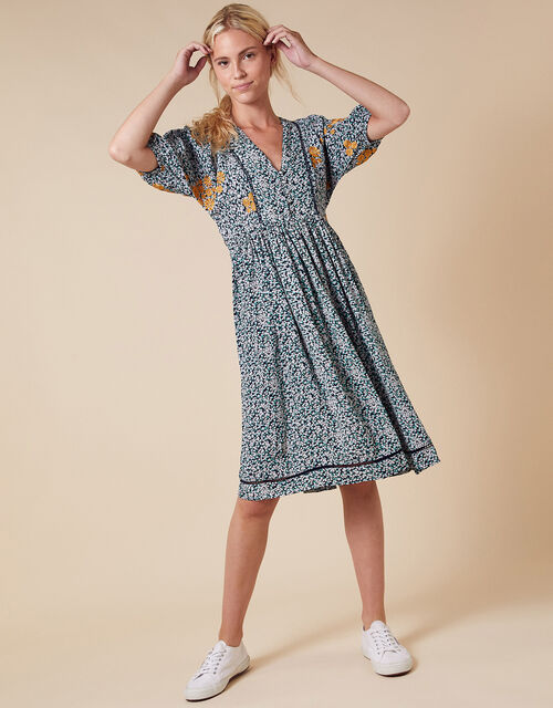 Ditsy Floral Embroidered Shirt Dress in Sustainable Viscose, Ivory (IVORY), large