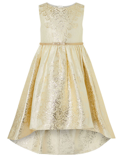 Jacquard High-Low Dress, Gold (GOLD), large