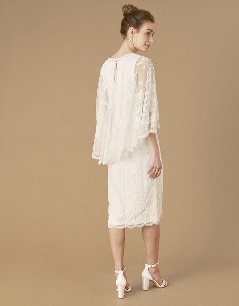 Dora Removable Cape Midi Bridal Dress Ivory, Ivory (IVORY), large