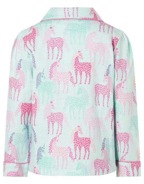 Unicorn Flannel Pyjama Set in Organic Cotton, Pink (PINK), large