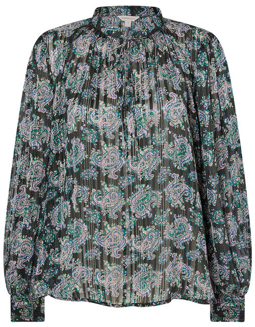 Paisley Print Blouse, Blue (NAVY), large