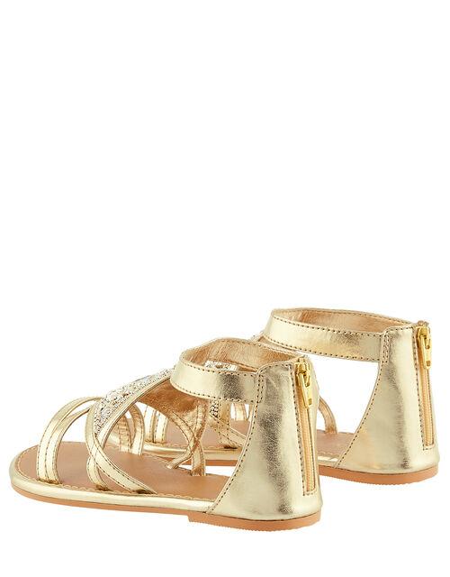 Embellished Diamond Sandals, Gold (GOLD), large