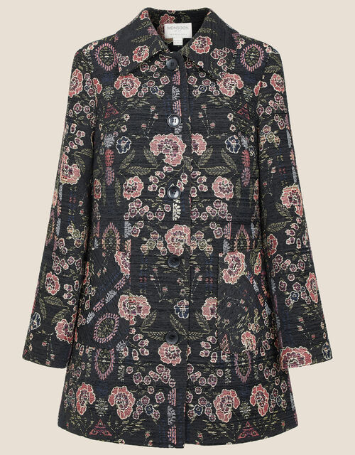 Jackie Floral Jacquard Coat, Black (BLACK), large