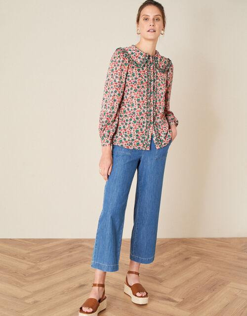 Callie Collar Ditsy Print Blouse, Orange (CORAL), large