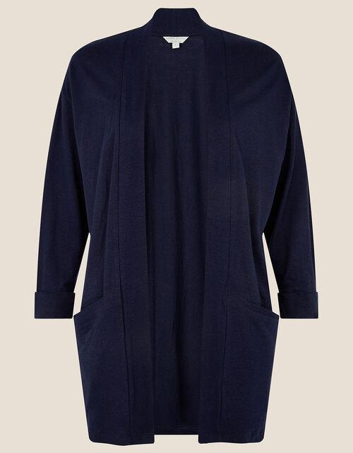 Plain Cover Up in Linen Blend , Blue (NAVY), large