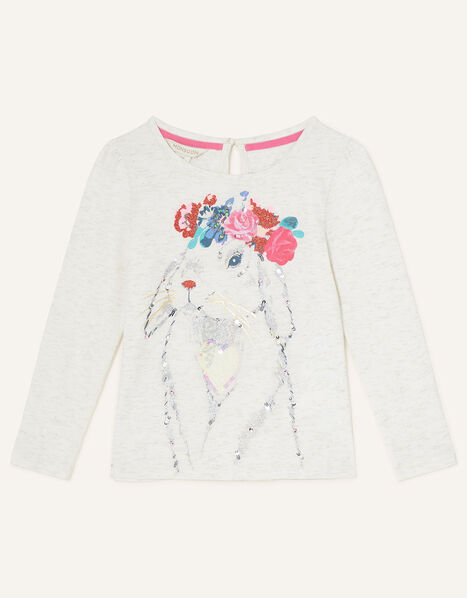 Floral Bunny Long Sleeve Top Ivory, Ivory (IVORY), large