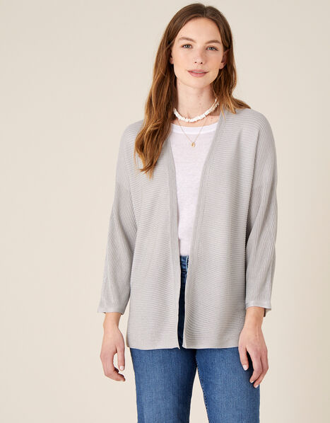 Sari Textured Cardigan Silver, Silver (SILVER), large
