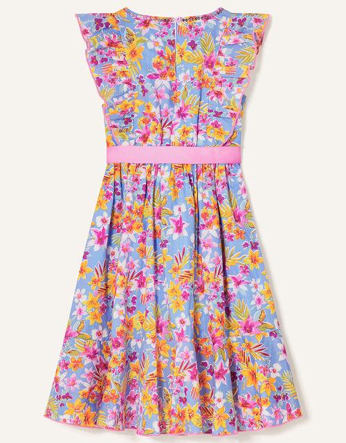 Floral Frill Skirt Dress, Blue (BLUE), large