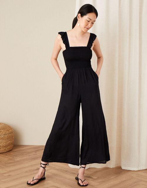 Ruffle Strap Wide Leg Jumpsuit, Black (BLACK), large