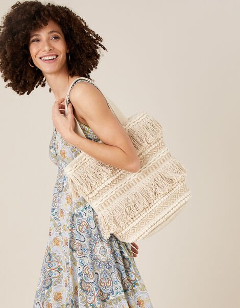 Fringe Textured Shopper Bag, , large