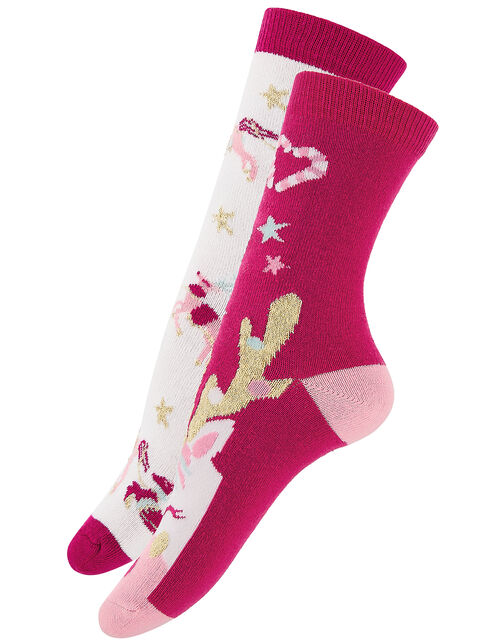 Festive Reindeer Sock Set in Pure Cotton, Red (RED), large