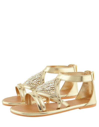 Embellished Diamond Sandals Gold, Gold (GOLD), large