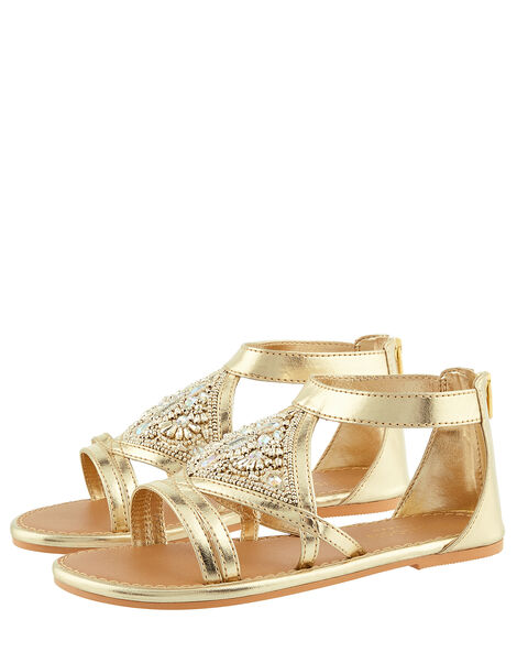 Embellished Diamond Sandals Gold, Gold (GOLD), large