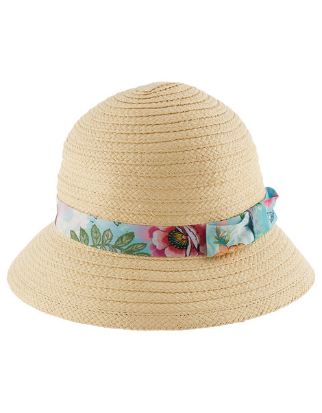 Bessie Printed Bucket Straw Hat  Natural, Natural (NATURAL), large