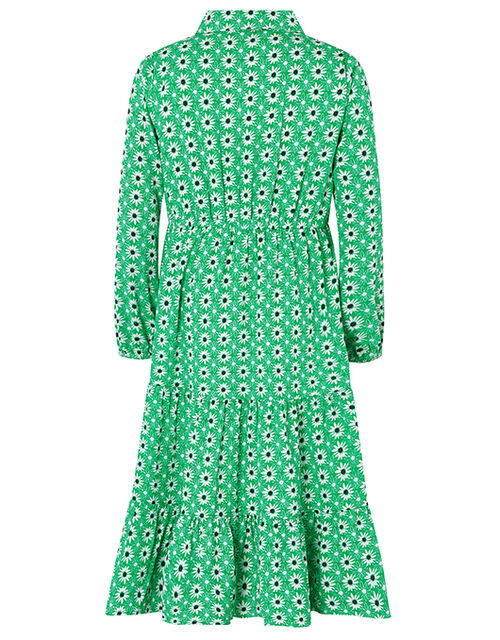 Dido Floral Shirt Dress in Recycled Polyester, Green (GREEN), large