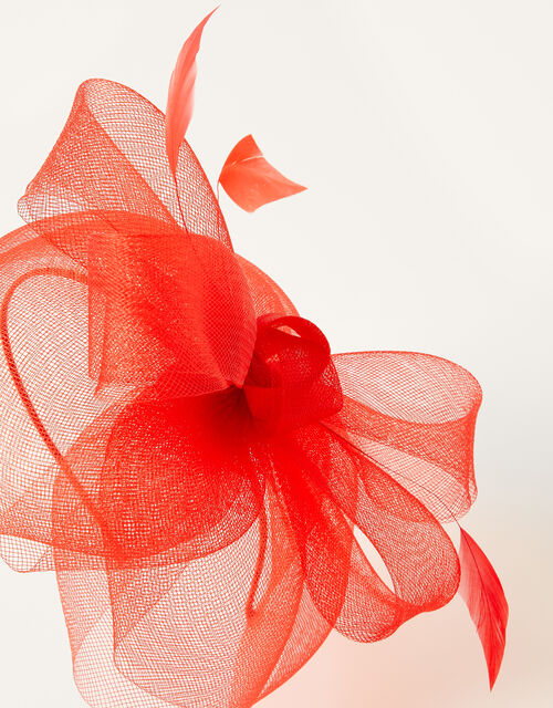 Crin Bow Fascinator , Red (RED), large