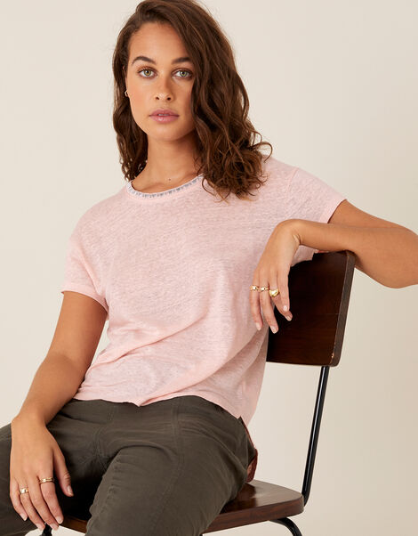 Embroidered Neck T-Shirt in Pure Linen Pink, Pink (BLUSH), large