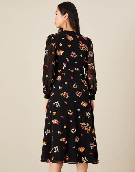 Sutton Animal Embellished Midi Dress in Recycled Polyester Black, Black (BLACK), large