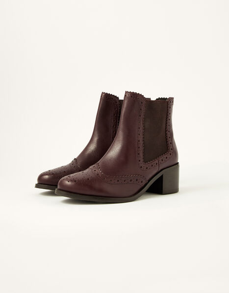 Layla Brogue Leather Ankle Boots Brown, Brown (CHOCOLATE), large