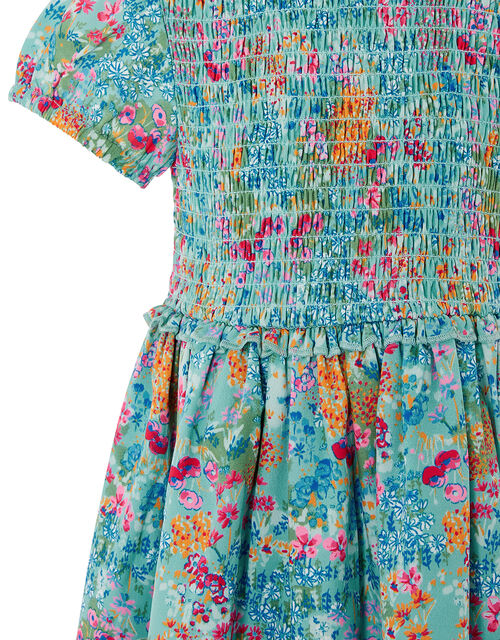 Baby Wildflower Dress in Recycled Polyester, Blue (AQUA), large