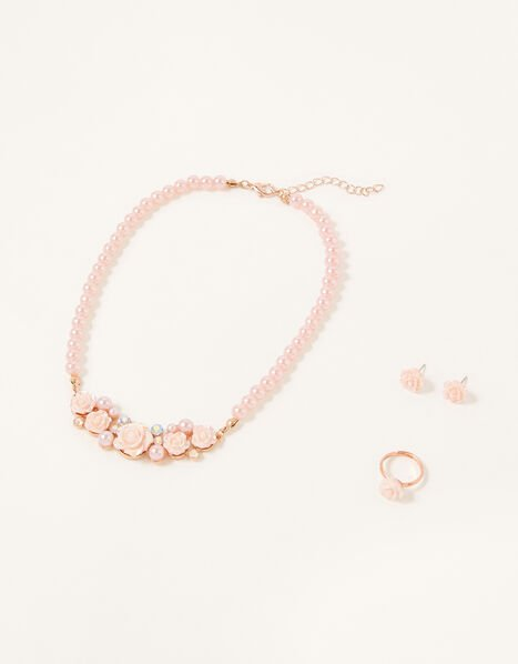 Frosted Pearl Rose Jewellery Set, , large
