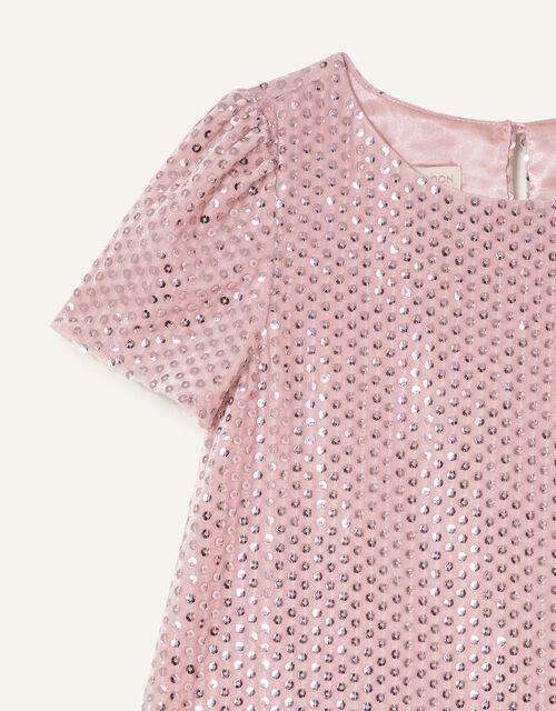 Sequin Velour Dress, Pink (PINK), large
