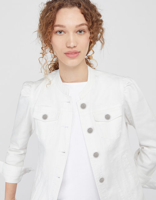 Fern Denim Jacket with Organic Cotton, White (WHITE), large