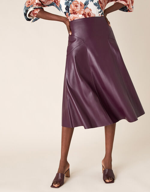 PU Midi Skirt with Recycled Fabric, Purple (PURPLE), large