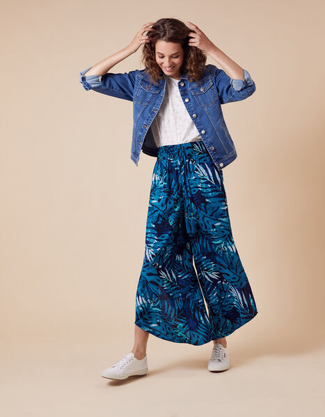 Palm Print Trousers in Sustainable Viscose Blue, Blue (NAVY), large